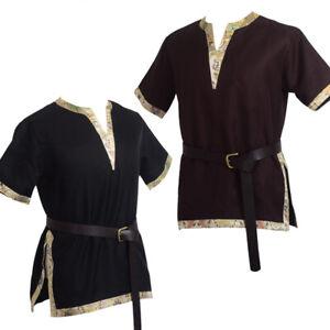Medieval Men Shirt Tops Tunic LARP Aristocrat Cosplay Short Sleeve Renaissance