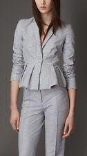 Burberry London Blue White Peplum Waist Tailored Seersucker Jacket 6 $1095
