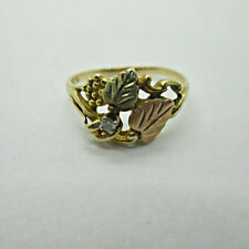 10k Yellow Black Hills Gold Leaves Ring with Stone Size 8 B9664