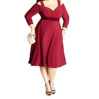Knee Length Dress Ladies Party Cocktail Prom 3/4 Sleeve Plus Size fashion 12-24