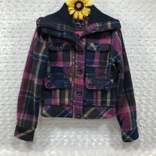 Rue 21 Womens Plaid Cropped Jacket Size S Wool Wide Collar Multicolor  jr6007