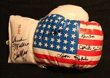 1976 OLYMPIC TEAM SIGNED USA FLAG BOXING GLOVE AUTOGRAPHED BY 6 SPINKS RANDOLPH