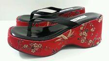 "Steve Madden Women's Chunky Heels ""Tofu"" Thong Sandlals ^RARE^ - Size 8.5"