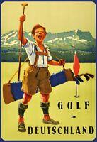 Golf en Allemagne Garçon Panneau Métallique Plaque Voûté Métal Étain 20 X 30 CM
