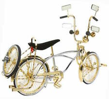 "20"" Lowrider Bike Chrome-Gold w 72 spokes twisted Bent Gold Fork Continental Kit"