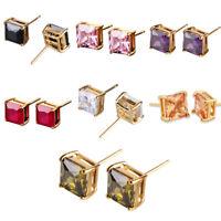 Square Princess Crystal Rhinestone 24K Gold Filled Women Lady Studs Earrings BOX