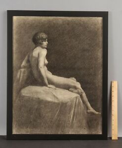 Large 1920s ELANOR COLBURN Charcoal Drawing, Beautiful Nude Woman Figure NR