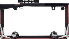 Hunting Gun Black License Plate Tag Frame for Auto-Car-Truck + Screw Bolt Caps