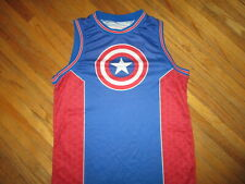 CAPTAIN AMERICA BASKETBALL JERSEY Tank To Shirt Marvel 1941 Star Shield Logo M/L
