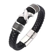 "Arm Ring Leather Braided Rivet 6.5""-8.9"" Men 316L Stainless Steel Bracelet Link"
