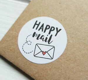 Happy Mail Post Postage Stickers Labels Self Adhesive Gifts Business Order