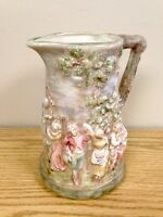 Beautiful Vintage Hand Painted 3D Pastoral Ceramic Pitcher