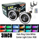 "Pair 3"" RGB Multi-Color Projector LED Fog Light & White Angel Eyes Halo Ring"