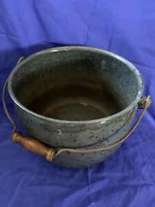 Vintage Large Rustic Gray Graniteware/Enamelware Cauldron Pot