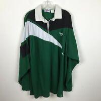 Mens Vintage Reebok Shirt Size XL Cotton Long Sleeve Green Black Heavyweight