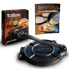 Tortilla Presse aus Gusseisen für Tortillas + Rezeptbuch aus DE 16cm - 25cm