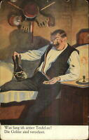 Sport Fencing - Man Resting After Duel? C1910 Postcard
