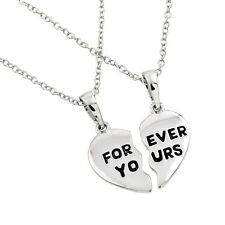 """Sterling Silver Two Chains Necklace w/ """"Forever Yours"""" Broken Heart Pendants"""