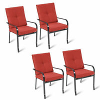 Set of 4 Patio Garden Chairs Steel Frame Outdoor Furniture Dining w/ Red Cushion