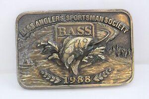 Vintage B.A.S.S. Bass Anglers Sportsman Society 1988 Brass Belt Buckle USA Made