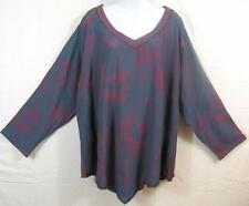 T259~TIENDA HO~Blue/Pink~Foliage~Nothing Matches~Asymmetrical Top~EMBROIDERED~OS