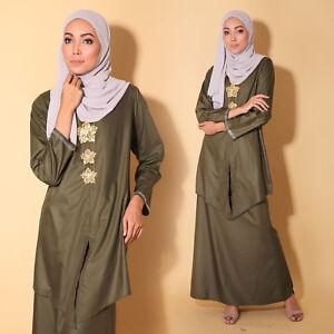 New Cotton Forest Green Women Muslimah Long sleeve Kebaya Plus Size Dress