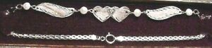 """Brand New 14kt White Gold w/Diamond Heart Classic Winged 10"""" Anklet-Free Ship!"""