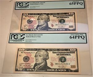 TWO Fr. 2042-B $10 2013 FEDERAL RESERVE NOTES WITH FANCY SERIAL NUMBERS-PCGS
