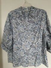 Studio works Multi Paisley 3/4 sleeves wrinkle free button down shirt top 2X