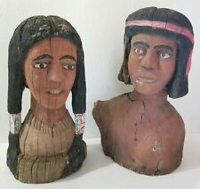 """Vintage New Mexico Wood Carved Folk Art American Indian Set Male Female 16"""" Tall"""