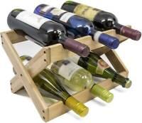 Bamboo Wood Countertop Wine Rack 6 Bottles Holder Foldable Organizer
