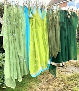 Indian Scarves Bundle Of 4 Green Ethnic Fabric Floaty Scarf Dressing Up Craft