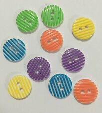 10 X Mix Of Stripe 13mm Two Hole Resin Buttons- Australian Supplier
