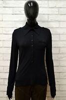 Camicia SA VA Donna Taglia Size S Maglia Shirt Woman Manica Lunga Nylon Nero