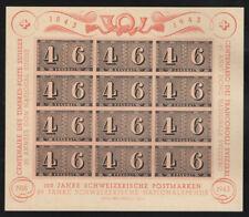 Switzerland B130 1943 Stamp Centennial Souvenir Sheet, NH Mint, CV $70