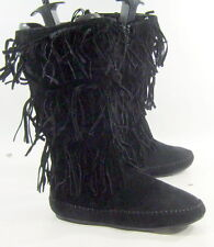 Womens Black Frill Flat Round Toe Sexy Mid-Calf Boot Size 7