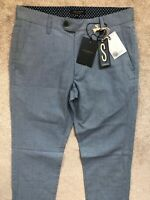 "TED BAKER MILD BLUE ""TINTEGA"" SLIM FIT TROUSERS PANTS CHINOS - 30R - NEW & TAGS"