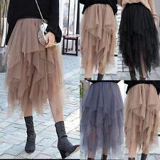 NEW Womens Multi Layer Tulle Pleated Retro Long Maxi Tutu Dress High Waist Skirt