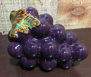 Grape Bunch Figurine Purple With Grape Leaf, Grape Cluster, Decorative Ceramic