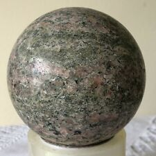 More details for stone ball sphere - pink and grey marble natural unpolished healing 3