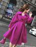 Women Lapel Wool Blend Knee Length Long Belt Trench Outwear Slim Dress Coat B569