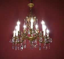 HEART SHAPE BRASS FRENCH CRYSTAL CHANDELIER LAMP OLD ANTIQUE LUSTRE 10 LIGHT