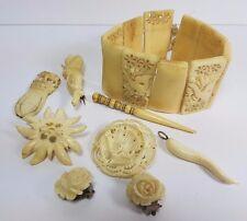 Vintage LOT Of tallada en hueso Joyería Bracelet Broche Colgante Pendientes de marcador