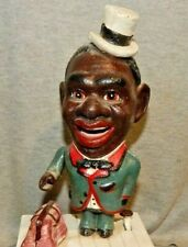 STUMP SPEAKER MECHANICAL BLACK MAN Cast Iron Coin Money Bank ETHNIC AMERICANA