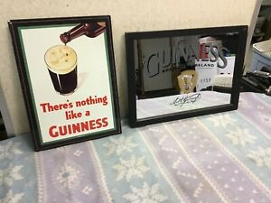 Guinness Beer Mirror and metal sign  Man Cave, Bar Decor
