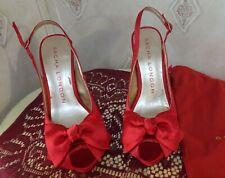 Sacha London Red Satin Beauty  Sling Back Stiletto Heels Peep Toe 8 1/2