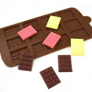 -12 Even Waffle Cookies Silicone Chocolate Cake Mold Ice Tray DIY Baking Tools-