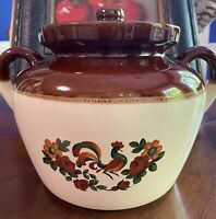 McCoy Pottery 342 w/marks, Covered Rooster Bean Pot, Brown & Cream w/Handles