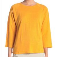 Eileen Fisher Womens L Mango Orange Linen Blend Long Sleeve Top