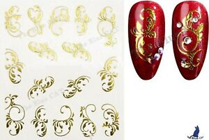 Nail Art Stickers Water Decals Transfers Gold Flowers  Lace Floral Nail Art